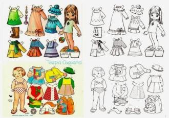 Papel Kawaii Muñecas Recortables Muñecas Para Vestir Y Colorear